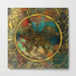 Golden Embossed Butterfly Metal Print