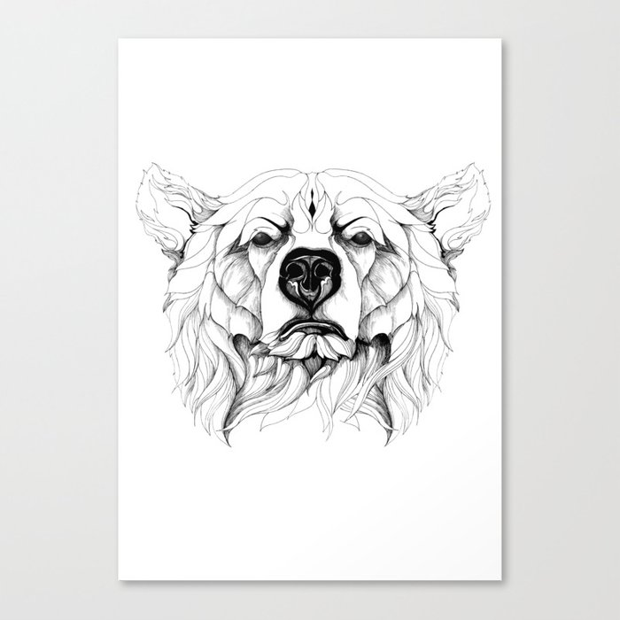 Grizzly Bear (black stroke version for t-shirts) Canvas Print