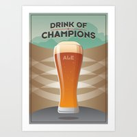 ale giorgini Art Prints featuring Drink Of Champions (Ale) by Hej Designs