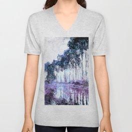 Monet : Poplars Lavender Periwinkle Deep Blue Unisex V-Neck