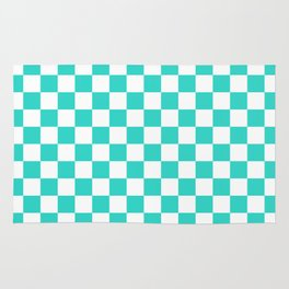Small Checkered - White and Turquoise Rug