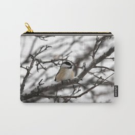Winter Windblown Black-Capped Chickadee Carry-All Pouch