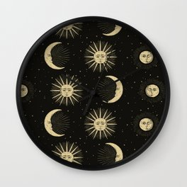 The Sun, The Moon, The Crescent of Moon Wall Clock