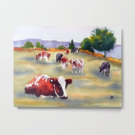 Cows in Pasture Metal Print