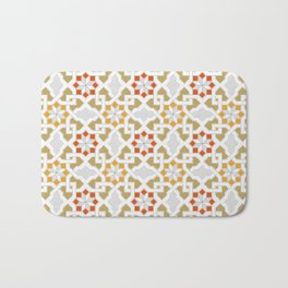 red, orange, white, brown -  Oriental design - orient  pattern - arabic style geometric mosaic Bath Mat