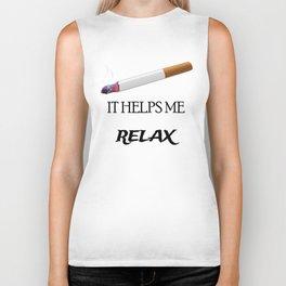 Cigarette it helps me relax Biker Tank