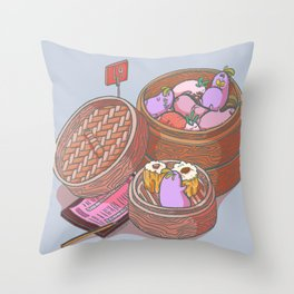 Ghost Radish in a Steamer Throw Pillow