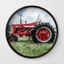 Vintage IH Farmall 450 Side View Red Tractor Wall Clock