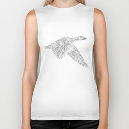 Black and white geometric bird Biker Tank
