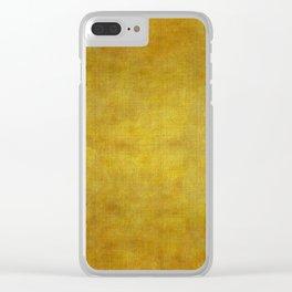 """""""Gold & Ocher Burlap Texture"""" Clear iPhone Case"""
