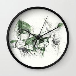 Arrow - Watercolor splatter artwork Wall Clock