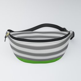 Green Black White Stripes Fanny Pack