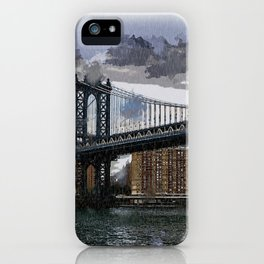 Grey Rainy Day at Manhattan Bridge NYC iPhone Case
