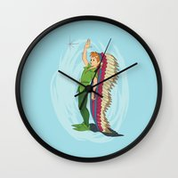 peter pan Wall Clocks featuring Peter Pan by LarissaKathryn