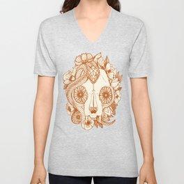 cat skull damask rust Unisex V-Neck