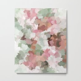 Sage Mint Green Fuchsia Blush Pink Abstract Flower Wall Art, Springtime Painting Print, Modern Wall Metal Print