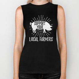 White Pig Support Your Local Farmers Farming Ranch Farm Design Biker Tank