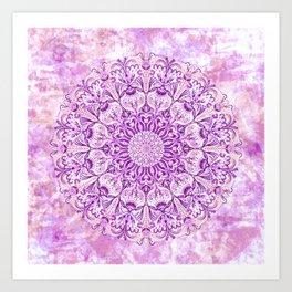 Lavender & Lilac Watercolor Mandala , Relaxation & Meditation Circle Pattern Art Print