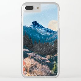 1960's Style Mountain Collage Clear iPhone Case