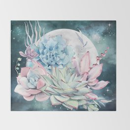 Beautiful Succulents Full Moon Teal Pink Throw Blanket