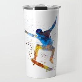Man skateboard 01 in watercolor Travel Mug