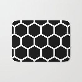 Honeycomb pattern - Black and White Bath Mat