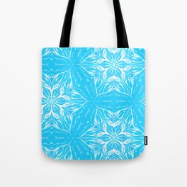 White Snowflakes stars ornament on Blue Tote Bag