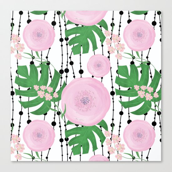 Pink flowers on a white background with black beads. Canvas Print