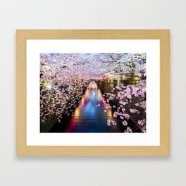 Cherry Blossom in pink   Japan Nakameguro River Framed Art Print