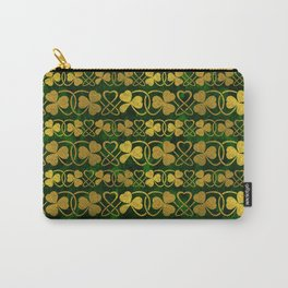 Irish Shamrock -Clover Gold and Green pattern Carry-All Pouch