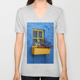 FLOWER - BOX - YELLOW - BLUE - WALL - PHOTOGRAPHY Unisex V-Neck