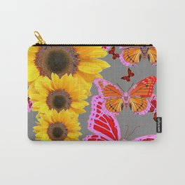 YELLOW SUNFLOWERS & MORPHING LILAC PURPLE MONARCH BUTTERFLIES Carry-All Pouch