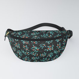 Botanical Teal Branches in Black  Fanny Pack