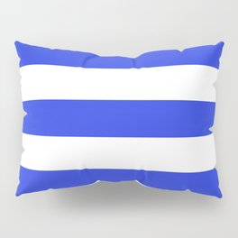 Palatinate blue - solid color - white stripes pattern Pillow Sham