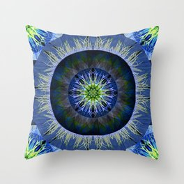 Mandala in Blue and Yellow Throw Pillow