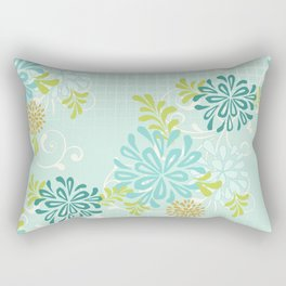 Bold Graphic Mod Mum Modern Chrysanthemum Floral Flower Aqua Blue Rectangular Pillow