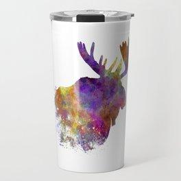 Moose 04 in watercolor Travel Mug