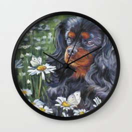 Black and Tan Cavalier King Charles Spaniel painting by L.A.Shepard Wall Clock