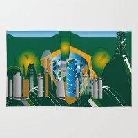 rio de janeiro Area & Throw Rugs featuring Rio de Janeiro skyline by siloto