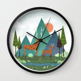 Deer and son Wall Clock