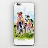 zebra iPhone & iPod Skins featuring Zebra by Anna Shell
