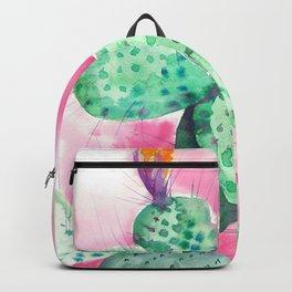 Blooming opuntia cactus Backpack