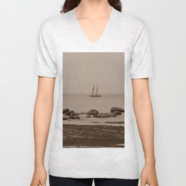 Tall ship out past the point sepia finish Unisex V-Neck