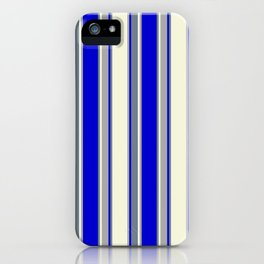 Beige, Dark Grey, Blue, and Slate Gray Colored Pattern of Stripes iPhone Case