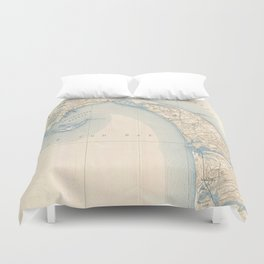 Vintage Map of Lower Cape Cod Duvet Cover