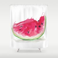 watermelon Shower Curtains featuring Watermelon by Bridget Davidson