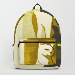 Japanese, Cat, Cubism, Woodblock Print, Cherry Blossom, Midcentury, Modern Backpack