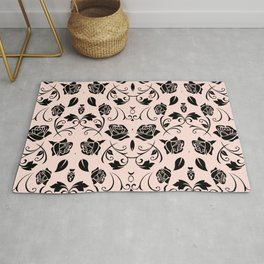 Black Rose Flower Pattern Print Rug