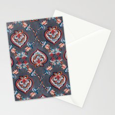 Floral Ogees in Red & Blue on Grey Stationery Cards