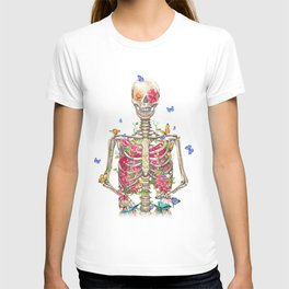 Blooming skeleton on the white background  T-shirt